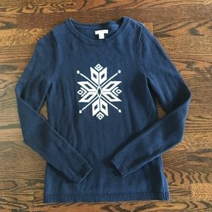 Navy and White Winter Snowflake Sweater